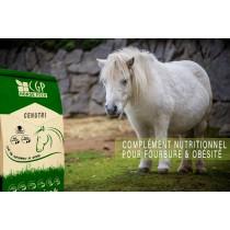 CENUTRI, est un complément nutritionnel pour une alimentation des chevaux et poneys sujets à l'obésité et fourbure.